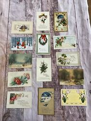 Vintage Antique Lot Of 14 Postcard Greeting Holiday Cards- Easter New Years Ect
