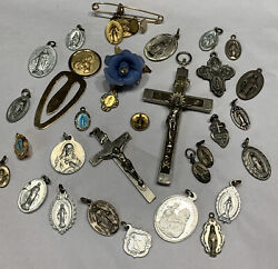 Vtg Antique 30pc Catholic Jewelry Rosary Cross Several Sterling Italy Germany