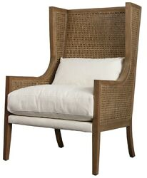 27 W Occasional Chair Oak Wood High Back With Rattan White Cotton Cushions
