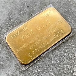 1oz Vintage Johnson Matthey Mallory Limited Gold Bar .9999 - Dated 1974