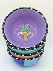 4 Collectible Decorative Outta Hand By Amy Hetrick Ice Cream Hand-painted Bowls
