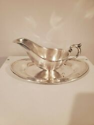 Vintage Eales 1779 Silver Plate Gravy Boat With Attached Under Plate