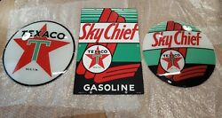 Vintage Original 40and039s Texaco Sky Chief Pump Plate Sign And Gas Globe Glass