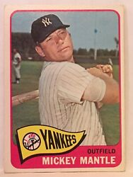 1965 Topps Baseball 350 Mickey Mantle Ex / Mint Centered Front And Back Yankees