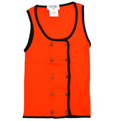 95p 40 Cc Logos Button Sleeveless Tops Red Black Authentic 39819