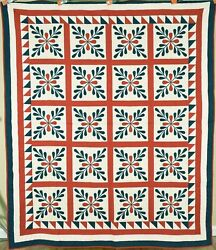 Outstanding Vintage 1870's Laurel Leaves Red And Green Applique Antique Quilt