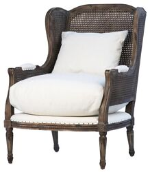 28 W Luciana Chair Traditional High Back Solid Wood Frame Natural Caning