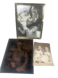 Vintage Super Creepy Scary Tintype Ferrotype Photos Pictures Twins Rare Old