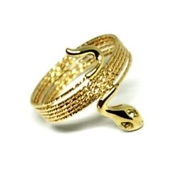 18k Yellow Gold Magicwire Multi Wires Ring Elastic Worked Snake White Topaz
