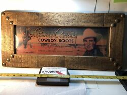 Vintage 1940's Gene Autry Cowboy Boots Box Label Brown Dallas Tx. Framed And Matte