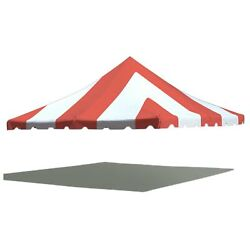 20x20' Premium Pole Tent Canopy 16 Oz Vinyl Red-white Replacement Block-out Top
