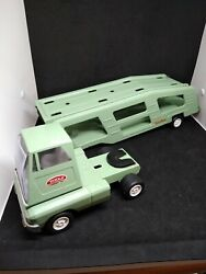 Vintage Pressed Steel Tonka Mighty Car Carrier American Made Pale Green