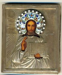 Antique Russian Icon Sterling Silver Gold Plated Jesus Enamels 26000b