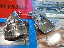 Vent Window Breezies With Bowtie Chevrolet Emblems 1 Pair Stainless