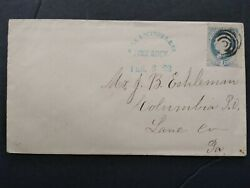 Rpo Phila And Reading Rr Co Lime Rock Pa 1888 206 Cover, Blue Cancel In Arc
