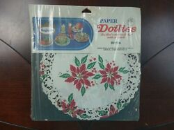 Vintage Christmas Poinsettia Paper Doilies Doily Red Green Gold 30 8 Roylcraft