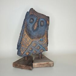 Vintage Mcm Owl Statue Signed Gary Napier Le Air Co Numbered/500 Chalkware
