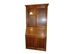 Secretary Solid Wood Green Leather Writing Surface Vintage