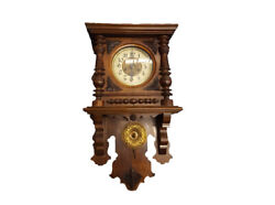Antique Wall Clock With Winding Solid Wood Fully Functional