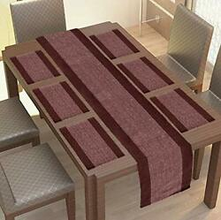 Coffee And White Dining Table Mats 6 Piece With 1 Runner Machine Washable