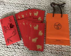 2021 Hermes Chinese Lunar New Year Lucky Red Envelopes Year Of The Ox Set Of 10