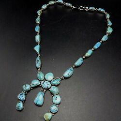 Federico Jimenez Sterling Silver Turquoise Naja Squash Blossom Style Necklace