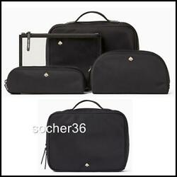 KATE SPADE JAE COSMETIC 4 PIECE COSMETIC SET CASE TRAVEL BAG BLACK NWT $259 $118.88