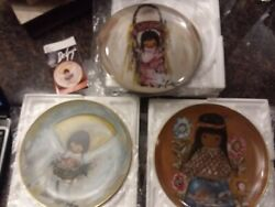 3 Vintage De Grazia Plates Little Cocopah Indian Girl, Pink Papoose And Flower Boy