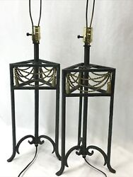 Vtg Pair Buffet Table Lamps Green Gold Metal Rope And Tassel Art Deco Mcm 70s, 80s