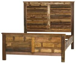 86 Orlando Queen Bed Reclaimed Solid Mango Wood Louver Style Headboard Rustic
