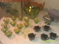 Vintage Indiana Glass Carnival Glass Punch Bowl Set Candy Dish Plus 5 Other Piec