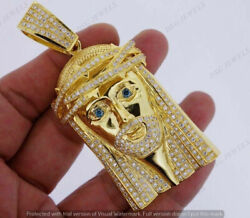 6 Ct Diamonds Christmas Holy Jesus Face Pendant For Menand039s 14k Yellow Gold Finish