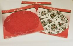 Vintage Nos 36 Round Hallmark 10 Christmas And Red Paper Doilies 3 Pkgs Of 12