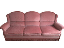 Antique Sofa Suite Pink 3-seater Armchairs Ottoman