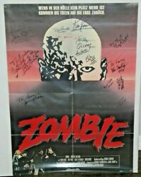 Zombie - Dawn Of The Dead - Signed Folded Movie Poster - 15 Signatures - Jsa Loa