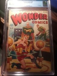 Wonder Comics 20 Cgc 6.0 Ow Scarce Alex Schomburg Airbrushed Cover + Last Issue