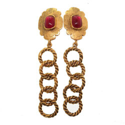 Authentic Vintage Gold Chain Earrings Red/gold Stone