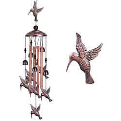 Garden Hummingbird Wind Chimes Outdoor Decor - With 4 Tubes 6 Bells 7 Mobile Mom