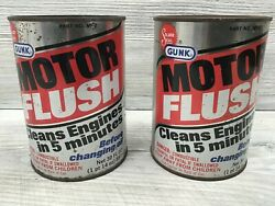 2 Vintage Gunk Motor Flush 30 Oz Cans Advertising Gas And Oil