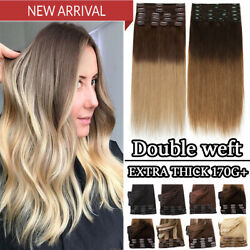 Extra Thick Double Weft Clip In Real Remy Human Hair Extensions Full Head Soft P