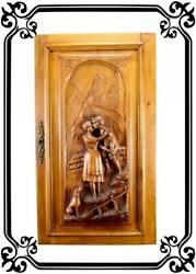 Vintage French Antique Large Hand Carved Wood Cupboard Door