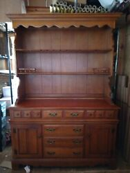 Antique Red Oak Wood Dutch Cupboard China Cabinet Draws And Doors 71h 50w