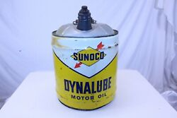 Vintage Collectible 1960 Sunoco Dynalube 5 Gal Steel Can With Wood Handle