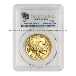 2021 50 American Gold Buffalo Pcgs Ms70 First Strike Fs 1oz 24kt Coin W/ Bison