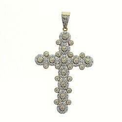 14k Gold Plated 925 Sterling Silver Micro Pave Cross Hip Hop Cz Pendant For Men
