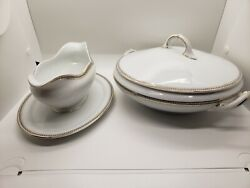 Handco. Selb Bavaria Covered Dish And Gravy Boat Gold Trimmed With Black Design