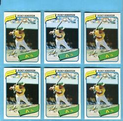 1980 Topps 482 Rickey Henderson Oakland A's Rookie Lot Of 6 Baseball Cards Em