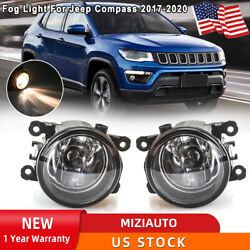 For 2017-2020 Jeep Compass Pair Bumper Fog Lights Lamp Clear Lens Replacement Us