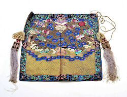 1900and039s Chinois Soie Broderie Or Fils Vierge Civil Rank Badge Pochette Glands
