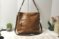 The Sak Brown leather Satchel Messenger LARGE Studded Perforated w silver NWOT $59.00